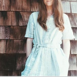 Blue and White Striped Linen Jumpsuit